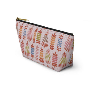 Stamped Leaves Accessory Pouch w T-bottom in Red