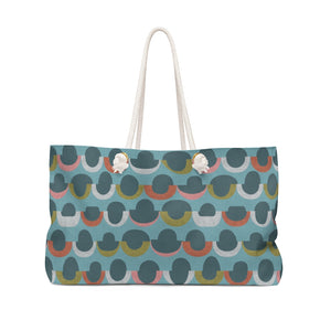 Half Moons Weekender Bag in Aqua