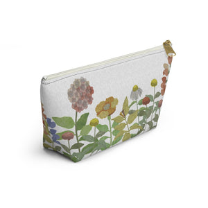 Illustrated Flowers Accessory Pouch w T-bottom in Green