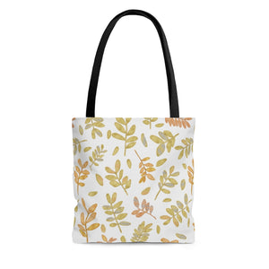 Watercolor Tossed Leaves Tote Bag in Yellow
