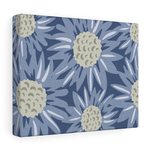Floral Sunflower Wrapped Canvas in Blue