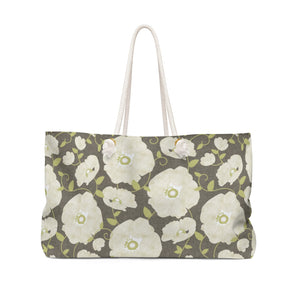 Floral Poppies Weekender Bag in Brown