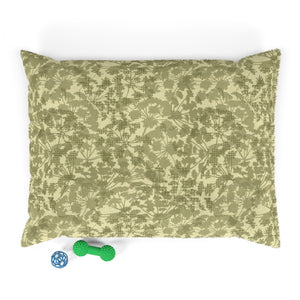 Floral Plaid Pet Bed in Green