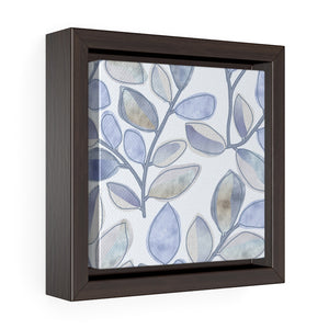 Cherry Plum Leaves Framed Gallery Wrap Canvas in Blue