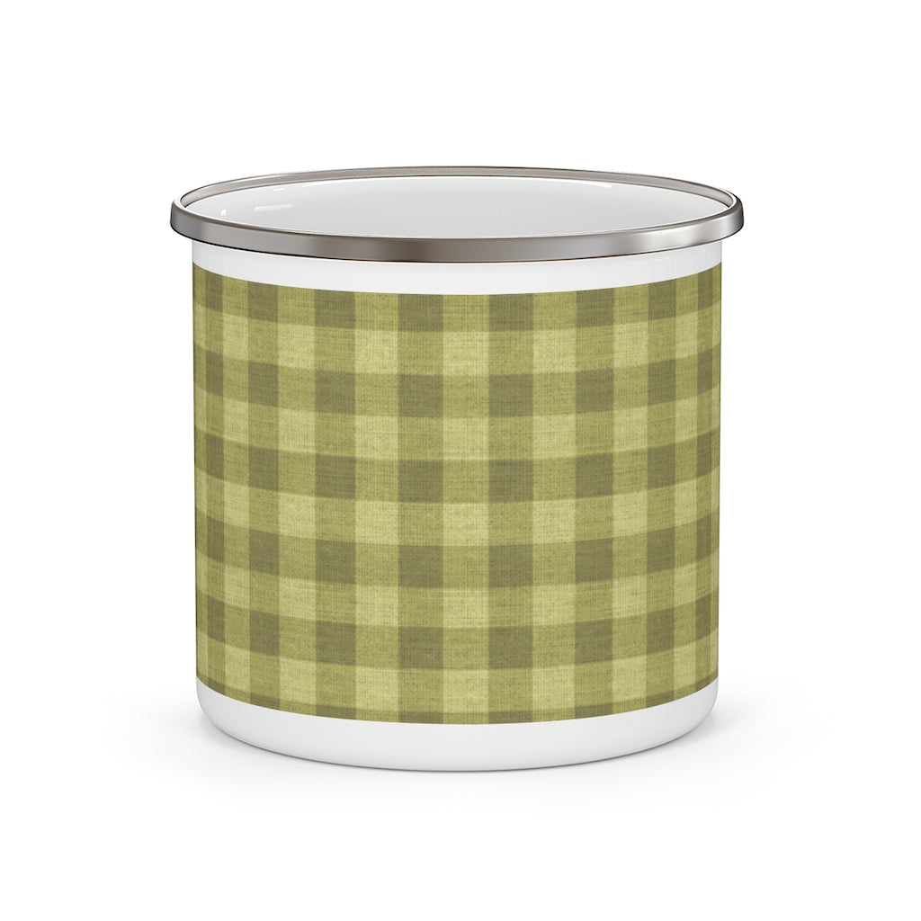 Buffalo Check Enamel Mug in Khaki