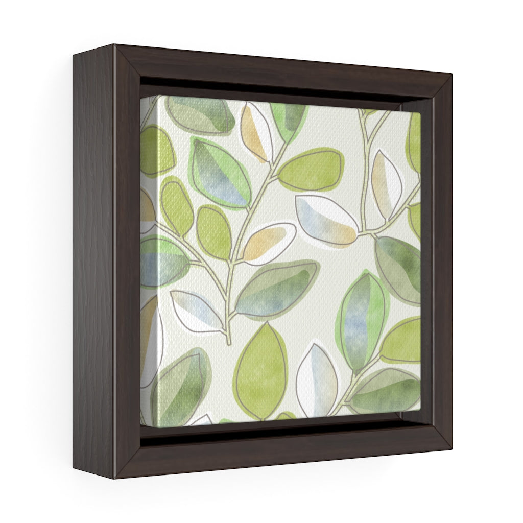 Cherry Plum Leaves Framed Gallery Wrap Canvas in Green