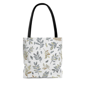Watercolor Tossed Leaves Tote Bag in Gray