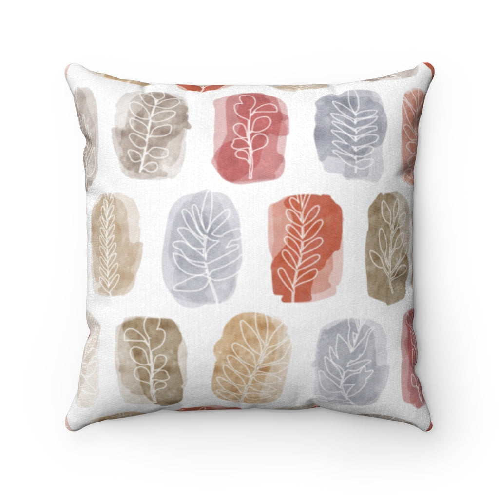 Watercolor Leaf Stamp Square Throw Pillow in Red