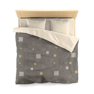 Block Party Microfiber Duvet Cover in Brown