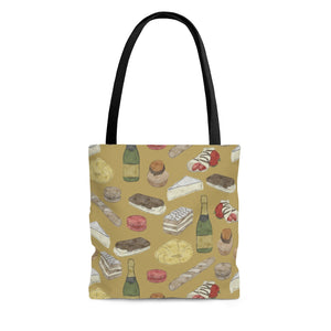 Watercolor French Pastries Tote Bag in Gold
