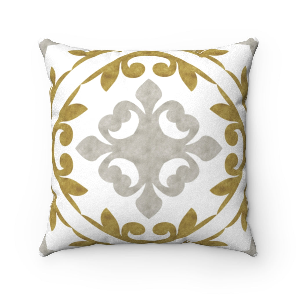 Porto Tile Square Throw Pillow in Gold