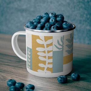 Botanical Paper Enamel Mug in Teal