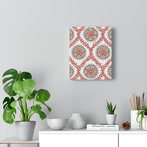 Ogee Flower Wrapped Canvas in Red