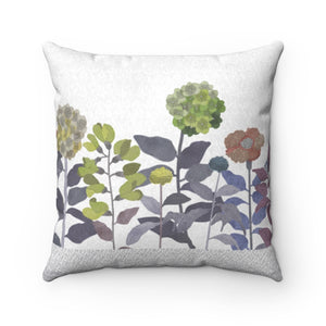 Illustrated Flowers Square Throw Pillow in Purple