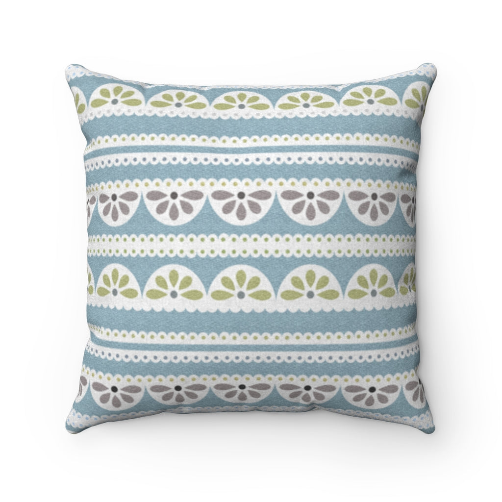 Eyelet Lace Square Throw Pillow in Aqua