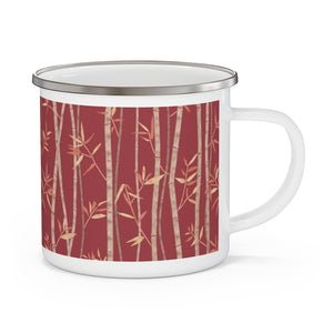 Bamboo Enamel Mug in Red