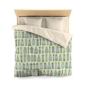 Stamped Leaves Microfiber Duvet Cover in Green