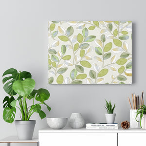 Cherry Plum Leaves Wrapped Canvas in Green