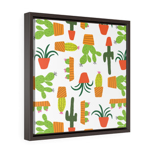 Cactus Framed Gallery Wrap Canvas in Green