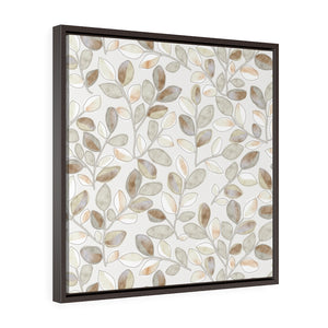 Cherry Plum Leaves Framed Gallery Wrap Canvas in Brown