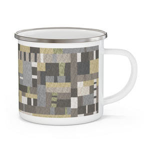 Block Quilt Enamel Mug in Tan