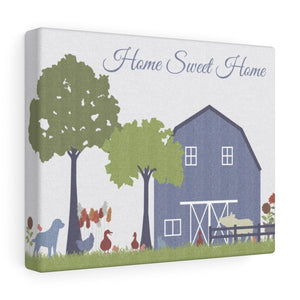 Barnyard Fun Home Wrapped Canvas in Blue