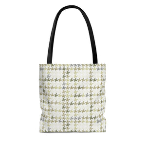 Plaid Houndstooth Tote Bag in Green