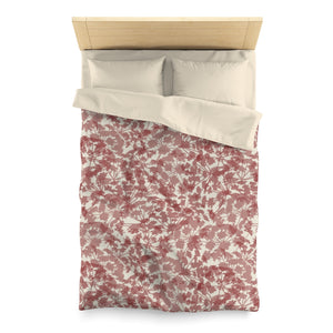 Floral Plaid Microfiber Duvet Cover in Red