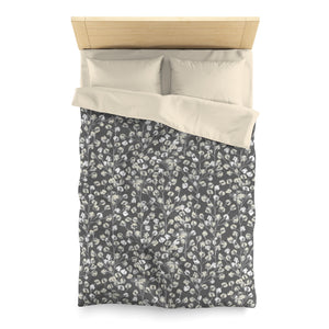 Cotton Branch Microfiber Duvet Cover in Gray