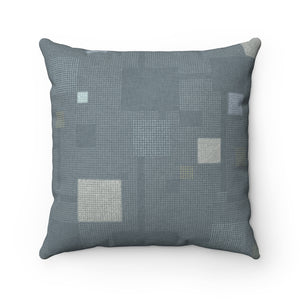 Block Party Square Throw Pillow in Aqua