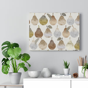 Watercolor Pears Wrapped Canvas in Brown