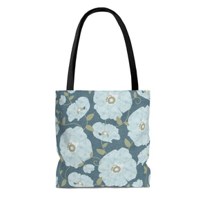 Floral Poppies Tote Bag in Aqua