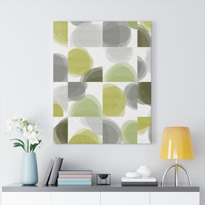 Divided Watercolor Circle Wrapped Canvas in Green