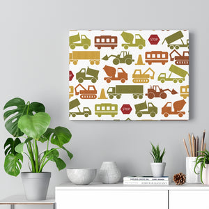 Digger and Trucks Wrapped Canvas in Green