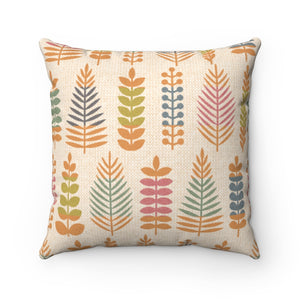 Stamped Leaves Square Throw Pillow in Orange