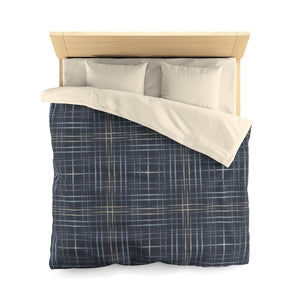 Painterly Plaid Microfiber Duvet Cover in Indigo