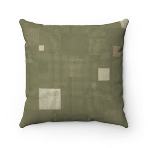 Block Party Square Throw Pillow in Green