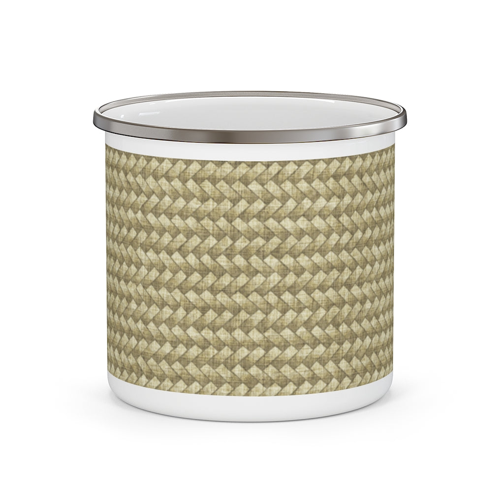 Basket Weave Enamel Mug in Tan