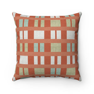 Clerestory Mid Century Modern Square Throw Pillow in Orange