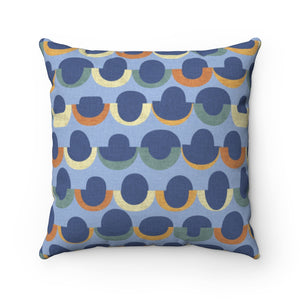 Half Moons Square Throw Pillow in Blue