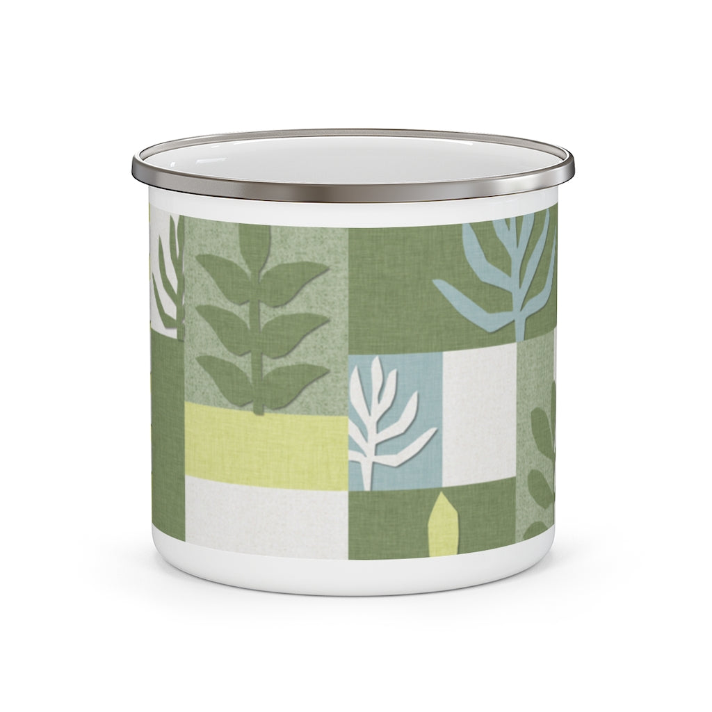 Botanical Paper Enamel Mug in Green