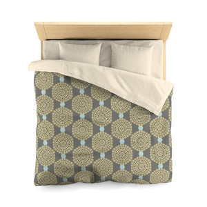 Lace Hexagon Microfiber Duvet Cover in Tan