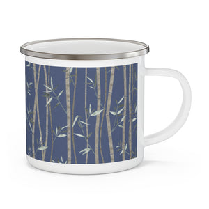 Bamboo Enamel Mug in Blue