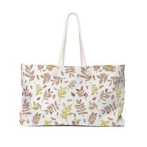 Watercolor Tossed Leaves Weekender Bag in Red