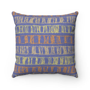 Sketch Stripe Square Throw Pillow in Purple