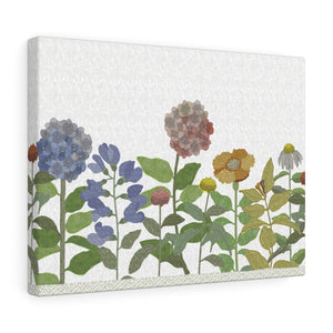 Illustrated Flowers Wrapped Canvas in Purple