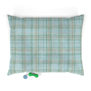 Dotted Plaid Pet Bed in Aqua
