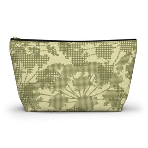 Floral Plaid Accessory Pouch w T-bottom in Green