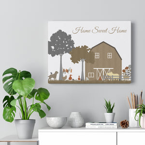 Barnyard Fun Home Wrapped Canvas in Brown