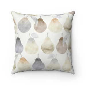 Watercolor Pears Square Throw Pillow in Cream